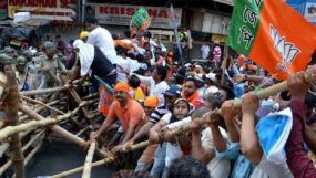 প্রিয়া সাহার সমর্থনে ভারতে বিজেপির বিক্ষোভ