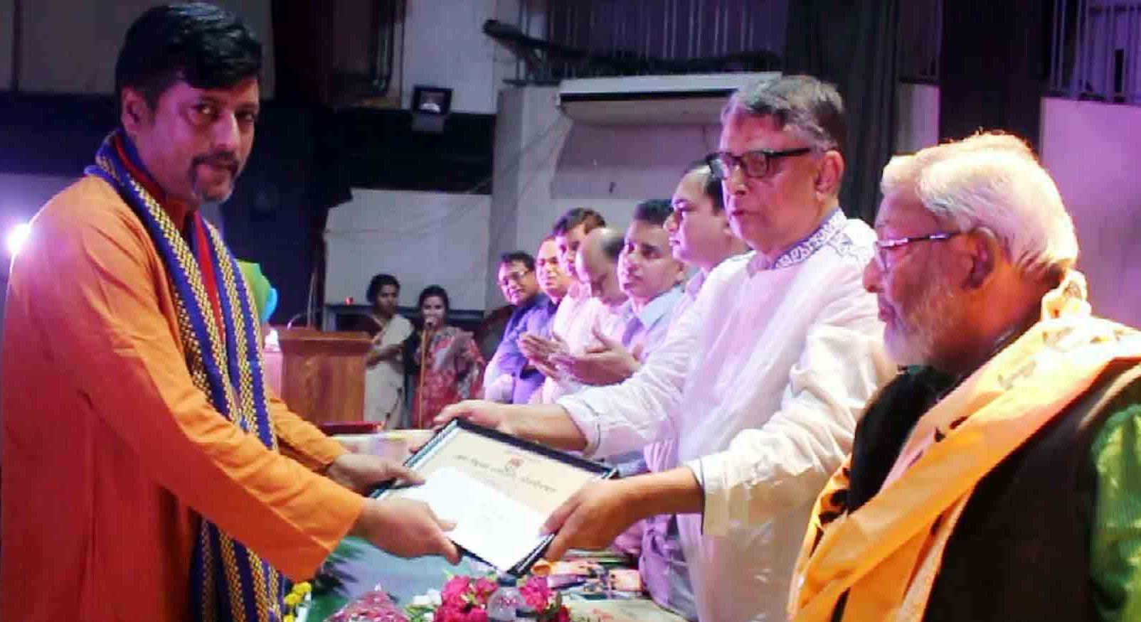 Soumitra Dev with  four  seasoned artistes Received Shilpakala  Award