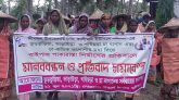 Tea labourers hold an human chain at Srimangal